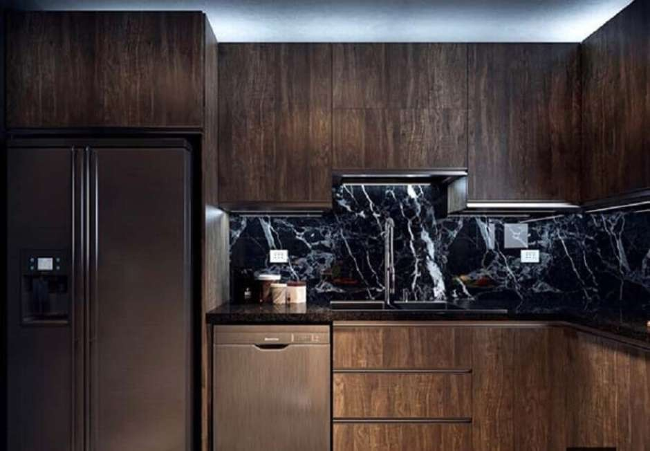 Bancadas Com Granito Preto Absoluto Em Cozinha Rústica5