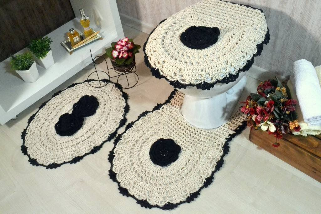 fotos e ideias de jogos de banheiros feitos em crochÊ12