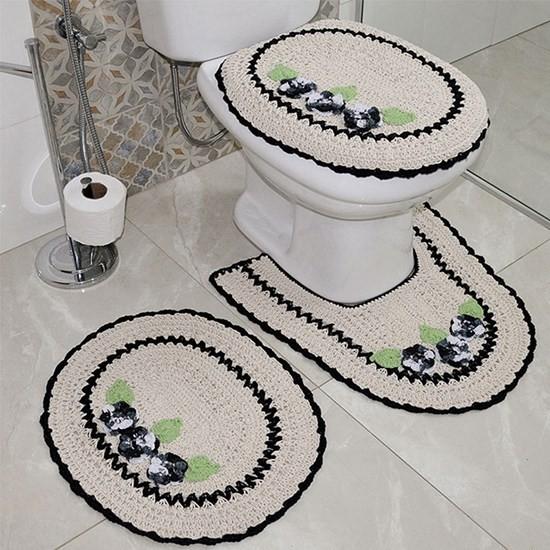 fotos e ideias de jogos de banheiros feitos em crochÊ15