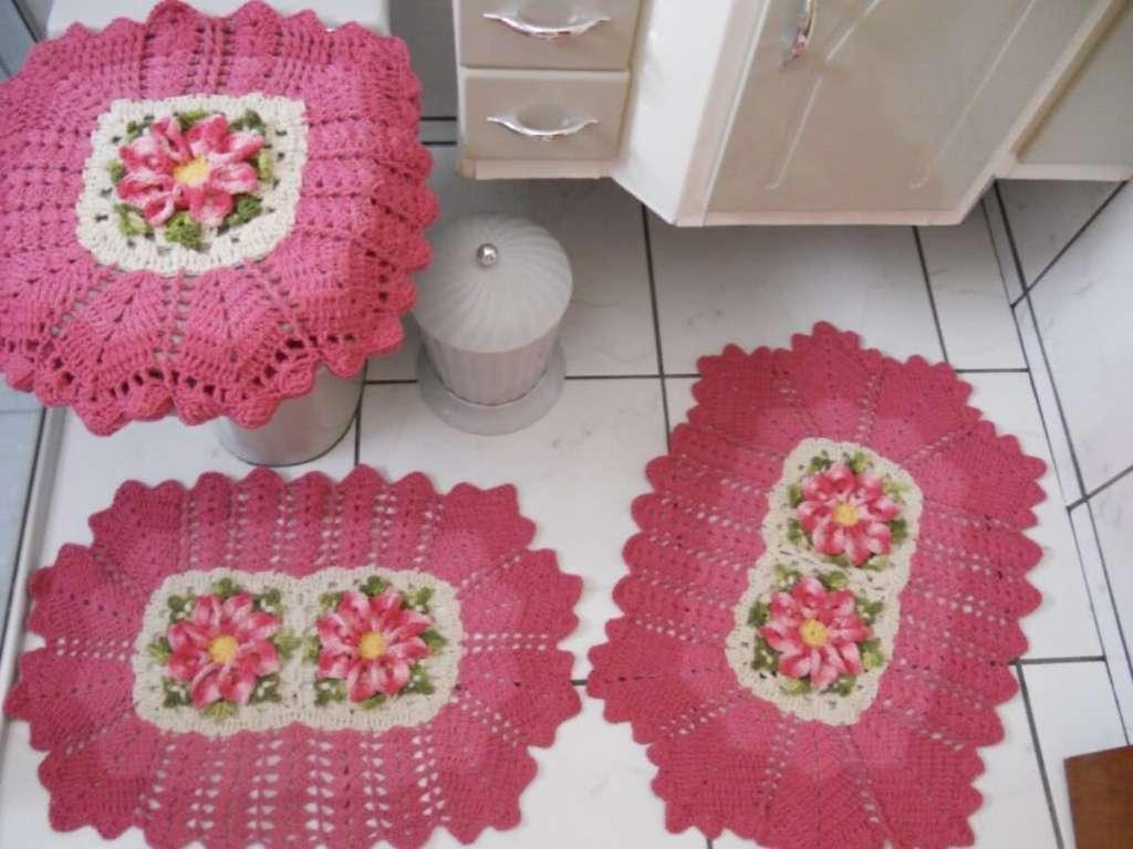 fotos e ideias de jogos de banheiros feitos em crochÊ18