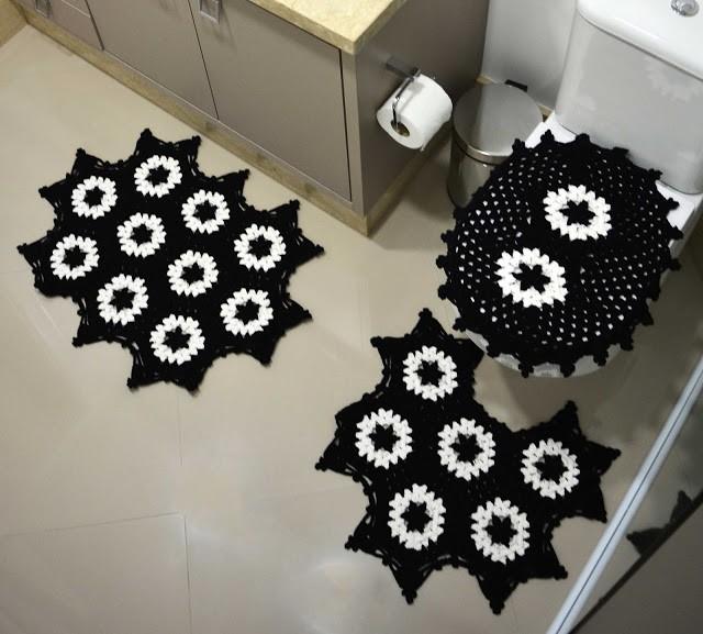 fotos e ideias de jogos de banheiros feitos em crochÊ20