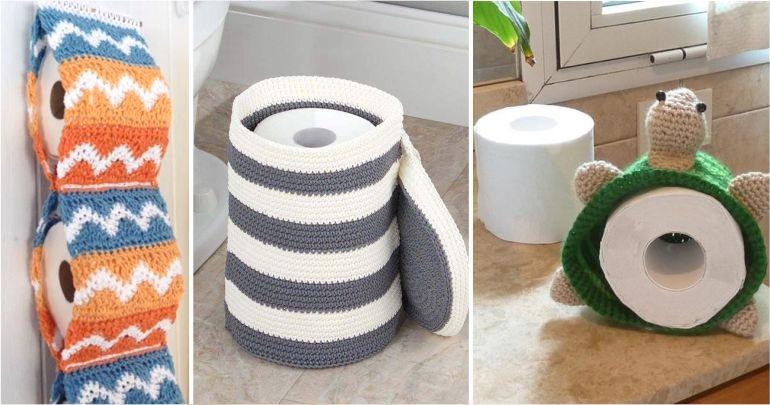 fotos e ideias de jogos de banheiros feitos em crochÊ9