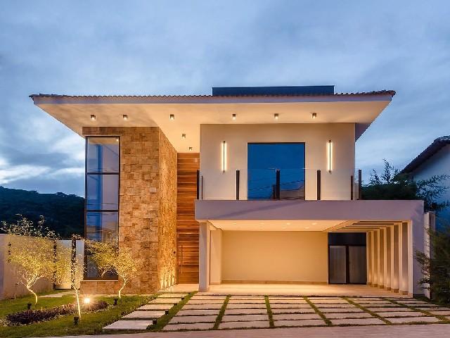 Fachadas De Casas Modernas De Pedra Ou Tijolo1