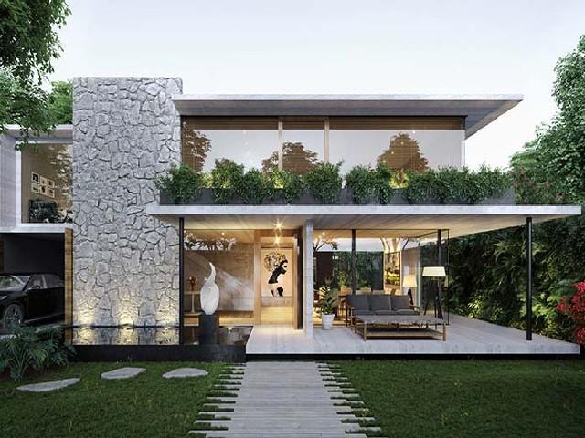 Fachadas De Casas Modernas De Pedra Ou Tijolo2