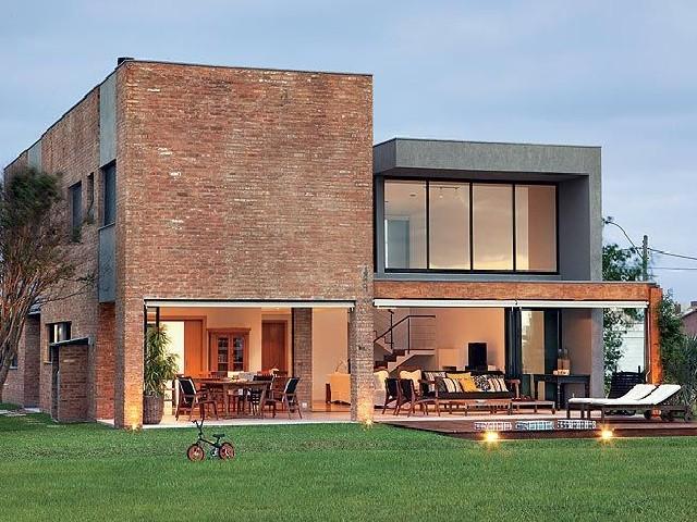 Fachadas De Casas Modernas De Pedra Ou Tijolo3