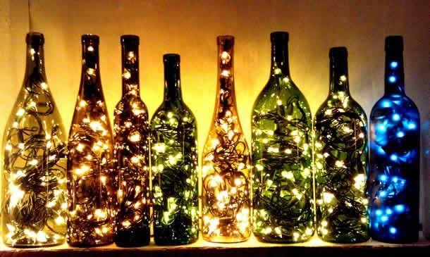 Garrafas Para O Natal Decoradas Com Pisca Pisca1