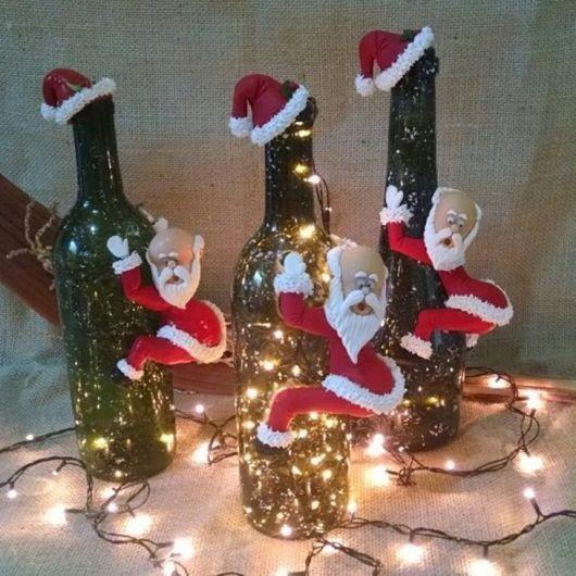 Garrafas Para O Natal Decoradas Com Pisca Pisca2