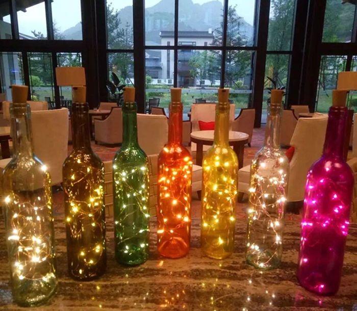 Garrafas Para O Natal Decoradas Com Pisca Pisca3