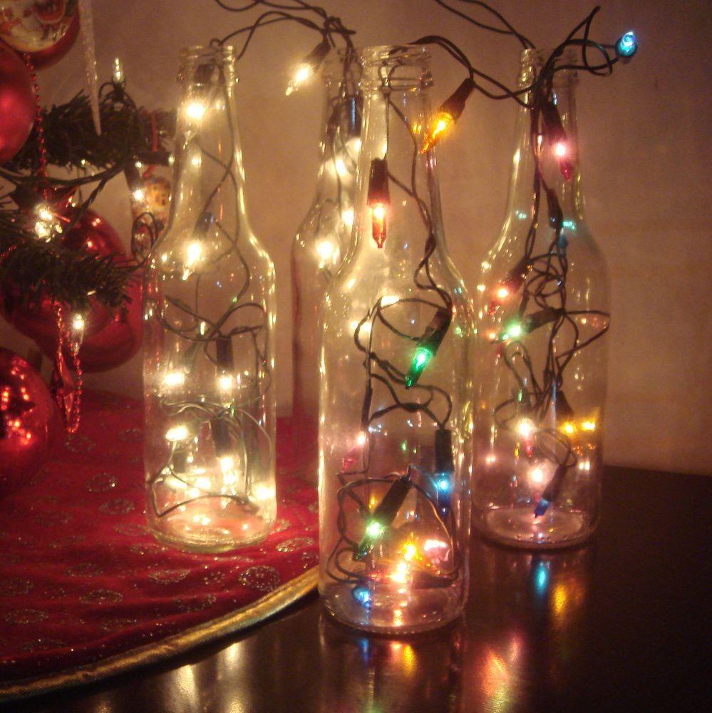 Garrafas Para O Natal Decoradas Com Pisca Pisca4