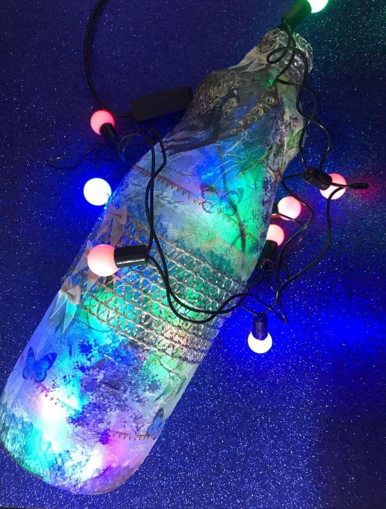Garrafas Para O Natal Decoradas Com Pisca Pisca5