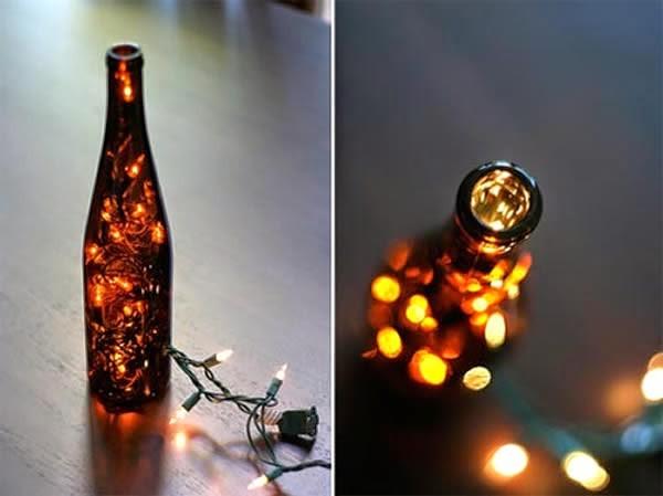 Garrafas Para O Natal Decoradas Com Pisca Pisca6