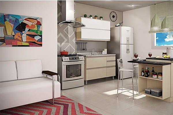 Sala e Cozinha Conjugada Pequena