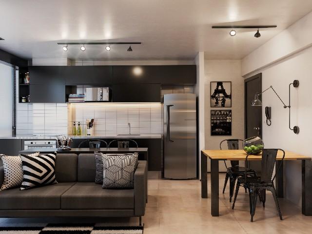 Sala E Cozinha Integradas Espaço Pequeno 12