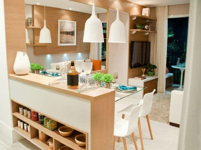 Sala E Cozinha Integradas Espaço Pequeno 4