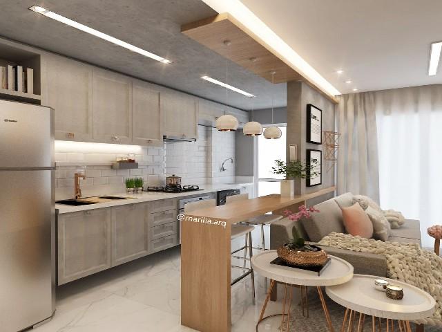 Sala E Cozinha Integradas Espaço Pequeno 8