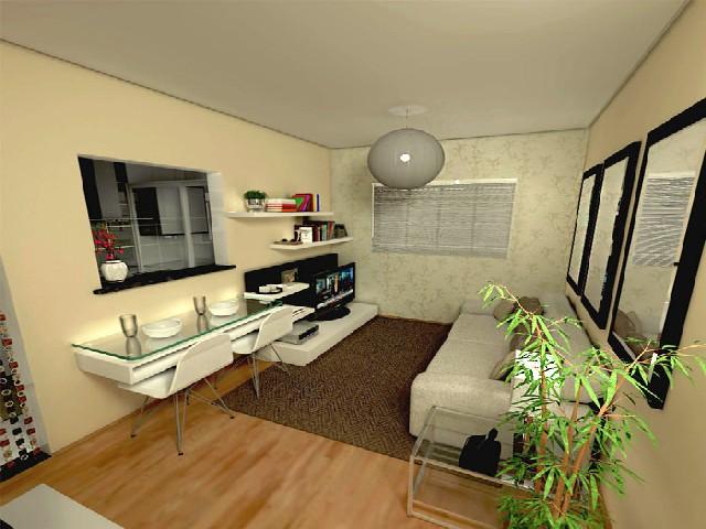 Sala E Cozinha Integradas Espaço Pequeno 9