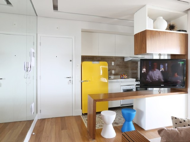 Sala e Cozinha Integradas Espaço Pequeno Apartamento