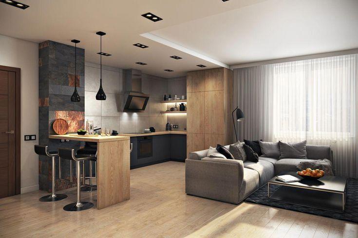 Sala e Cozinha com Cores Conjugadas