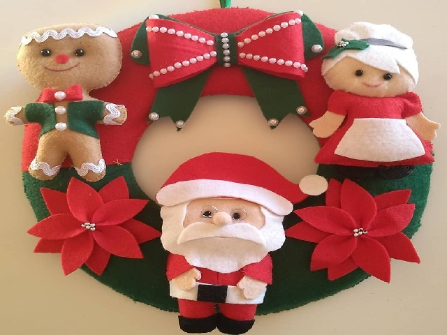 Guirlanda De Natal Em Feltro Colorida 3