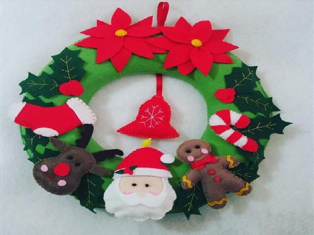 Guirlanda De Natal Em Feltro Colorida 6