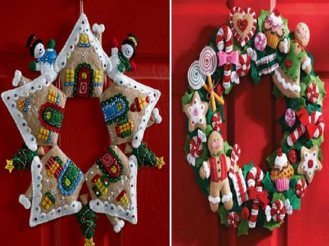 Guirlanda De Natal Em Feltro Na Porta 4